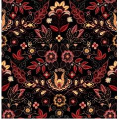 Tecido Tricoline Digital Floral - Fundo Preto
