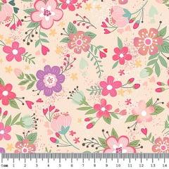 Tecido Tricoline Digital Floral - Fundo Salmão - Coleção Viva La Vida - Preço de 50 cm x 150 cm