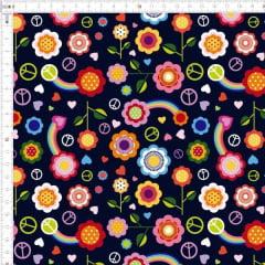Tecido Tricoline Digital Floral Paz e Amor - Fundo Preto - Preço de 50 cm x 150 cm