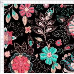 Tecido Tricoline Digital Floral Preto Blume
