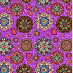 Tecido Tricoline Digital Galid - Fundo Violeta com Estrelinhas