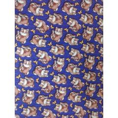 Tecido Tricoline Digital Gato e Borboletas - Fundo Azul Royal - Preço de 50 cm x 150 cm