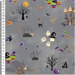 Tecido Tricoline Digital Halloween - Noite de Halloween - Fundo Cinza