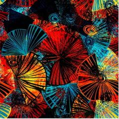 Tecido Tricoline Digital Leque Multi Color - Preço de 50 cm x 150 cm