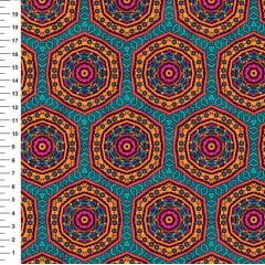Tecido Tricoline Digital Mandala Colorida - Fundo verde - Preço de 50cm x 150cm