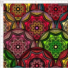 Tecido Tricoline Digital Mandalas