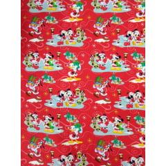 Tecido Tricoline Digital Mickey And Minnie Vermelho - Coleção Disney Natal - Preço de 50 cm x 150 cm