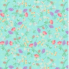 Tecido Tricoline Digital Mini Floral - Fundo Verde Menta - Coleção Viva La Vida Happy