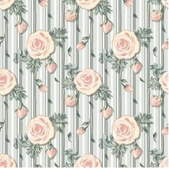 Tecido Tricoline Digital Mini Floral Veneza - Fundo Listardo Verde Menta  - Preço de 50 cm X 150 cm