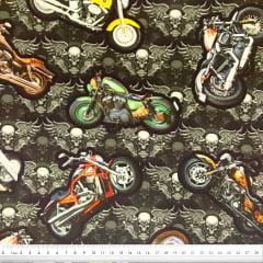 Tecido Tricoline Digital Motos e Caveiras - Fundo Preto - Preço de 50 cm x 150 cm