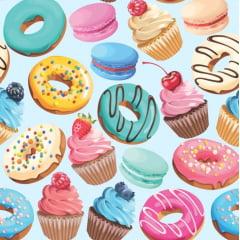 Tecido Tricoline Digital Muffins - Fundo Azul Bebê