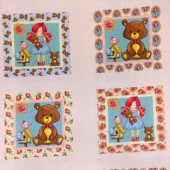 Tecido Tricoline Digital Painel Boneca de Pano e Urso - Preço de 40cm x 150cm