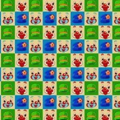 Tecido Tricoline Digital  Patati Patata Quadriculado Rosto - Fundo Colorido - Preço de 50 cm x 150 cm