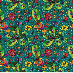Tecido Tricoline Digital Psicoflowers - Fundo Verde