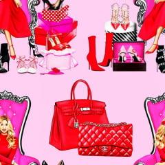 Tecido Tricoline Digital Red Pink