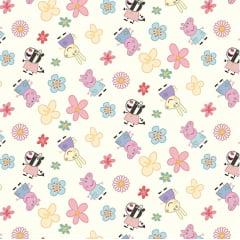 Tecido Tricoline Digital Turma da Peppa com Flores - Fundo Creme - Preço de 50 cm x 150 cm