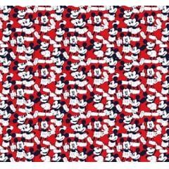 Tecido Tricoline do Mickey - Fundo Vermelho - Coleção Disney - Preço de 50 cm x 150 cm