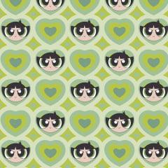 Tecido Tricoline Docinho Coração - Fundo Verde - Preço de 50 cm x 150 cm