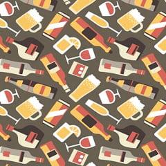 Tecido Tricoline Drinks, Vinhos e Taças - Fundo Cinza Chumbo