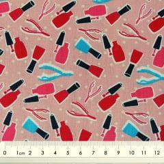 Tecido Tricoline Manicure: Esmaltes e Alicates - Fundo Rosê com Poá Branco
