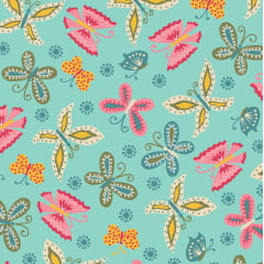 Tecido Tricoline  Estampa de Borboletas - Fundo Tiffany - Coleção Florescer