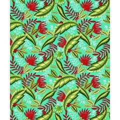Tecido Tricoline Estampa de Folhagem - Fundo Verde - Preço de 50 cm X 150 cm