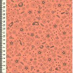 Tecido Tricoline Estampa de Mini Flores e Pássaros Marrom - Fundo Coral