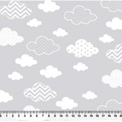 Tecido Tricoline  Estampa de Nuvem Chevron, Poá e Listrada - Fundo Cinza - Preço de 50 cm x 150 cm