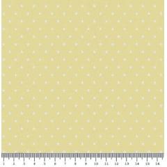 Tecido Tricoline  Estampa Mini Estrela Branca - Fundo Amarelo Claro - Preço de 50 cm X 150 cm