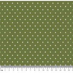 Tecido Tricoline  Estampa Mini Estrela Branca - Fundo Verde Oliva