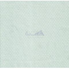 Tecido Tricoline Estampa Poá Branco - Fundo Verde Seco