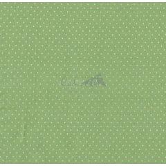 Tecido Tricoline Estampa Poá Branco - Fundo Verde Jade - 50 cm x 150 cm
