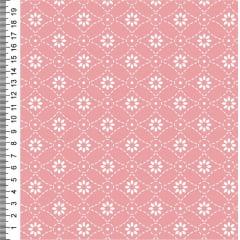 Tecido Tricoline Estampa Rebordando Flores - Fundo Rosa