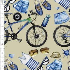 Tecido Tricoline Estampado Digital Equipamentos de Ciclista