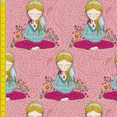 Tecido Tricoline Estampado Digital Meditação - Fundo Rosa