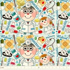 Tecido Tricoline Digital Estampado Doctors - Fundo Branco - Preço de 50 cm x 150 cm