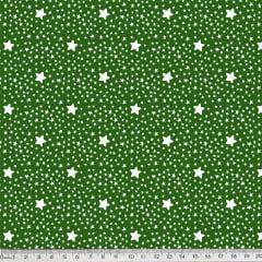 Tecido Tricoline Estrelinhas - Fundo Verde Floresta - Preço de 50 cm x 150 cm
