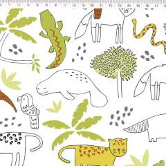 Tecido Tricoline Fauna de Bichos - Fundo Branco - Coleção Fauna Brasileira - By Eliana Sposito