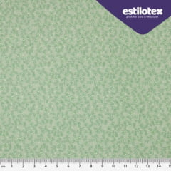 Tecido Tricoline Floral Chic Verde Água - Fundo Verde