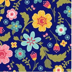 Tecido Tricoline Floral da Coleção Florescer - Fundo Marinho