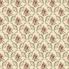 Tecido Tricoline Floral Damask Verde Musgo - Coleção Aroma - Preço de 50 cm x 150 cm