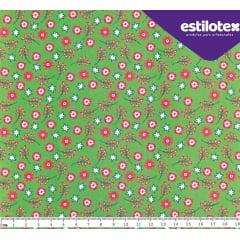 Tecido Tricoline Floral Dora - Fundo Verde