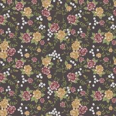 Tecido Tricoline Floral - Fundo Marrom Acinzentado - Coleção Rosinhas - Preço de 50 cm x 150 cm