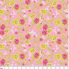 Tecido Tricoline Floral - Fundo Rosa - Coleção Rosinhas - Preço de 50 cm x 150 cm