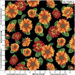 Tecido Tricoline Floral Girassol - Coleção Girassol - Fundo Preto