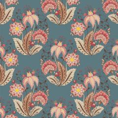Tecido Tricoline Floral Jacobean - Azul Petróleo - Preço de 50 cm x 150 cm