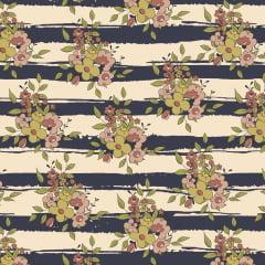 Tecido Tricoline Floral Listrado Azul Marinho - Coleção Aroma - Preço de 50 cm x 150 cm