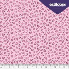 Tecido Tricoline Floral Romance - Fundo Rosa - Preço de 50 cm X 150 cm