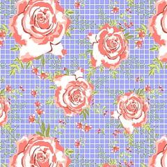 Tecido Tricoline Floral Rosas - Fundo Azul Quadriculado - Preço de 50 cm X 150 cm