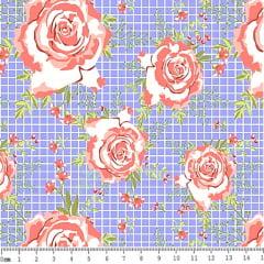 Tecido Tricoline Floral Rosas - Fundo Azul Quadriculado - Preço de 45 cm X 150 cm